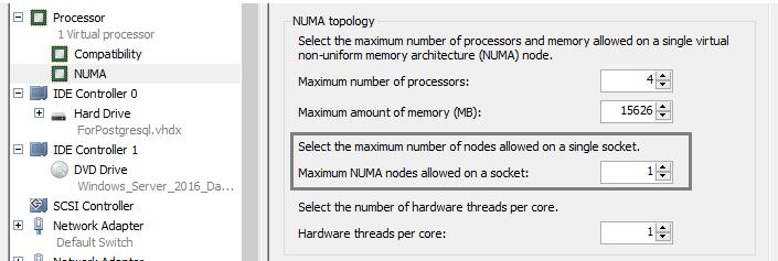 core per socket setting