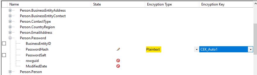 Back to plain text using Encrypt Columns