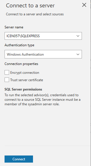 Choose SQL Server and the authentication type