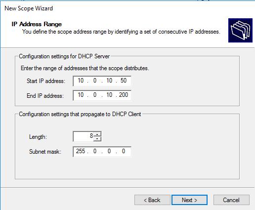 DHCP Scope settings
