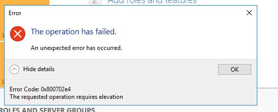 Failed error