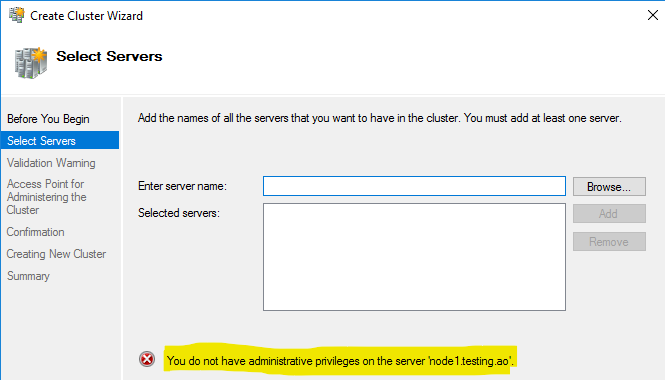 Insufficient permissions for Create Cluster