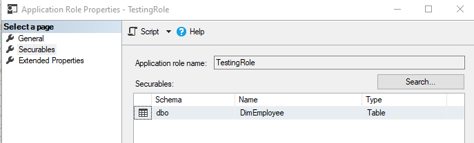 Application Role permissions