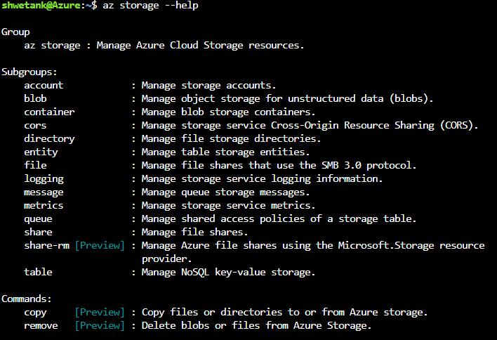 az storage --help