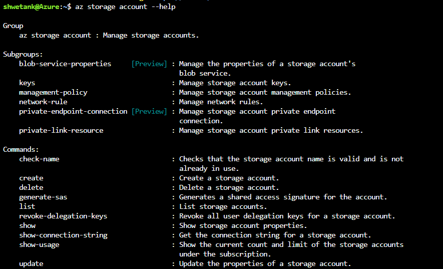 az storage account --help