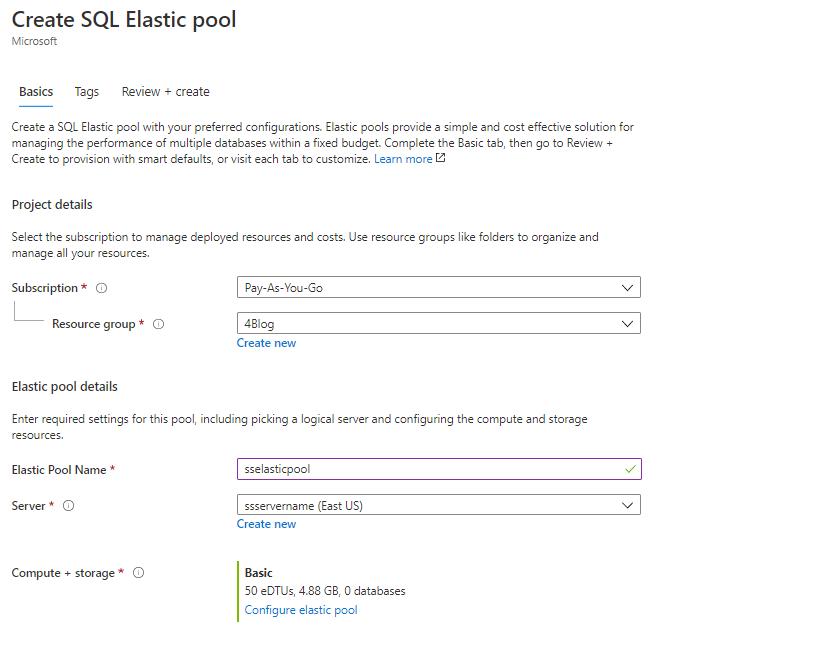 Creating Elastic Pool