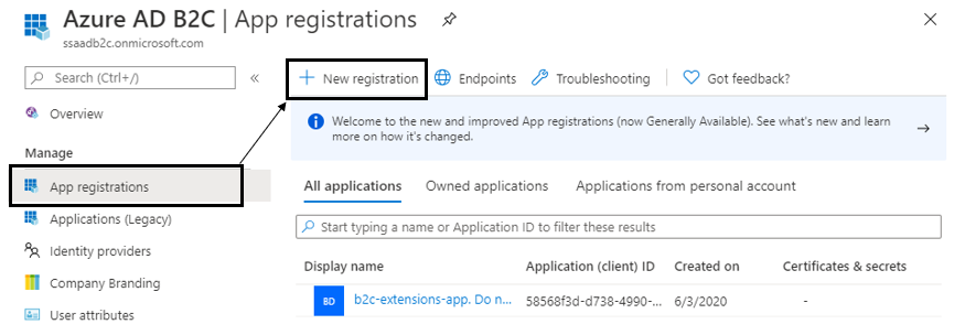 App Registration in AD B2C