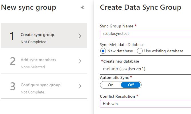 Creating Data Sync Group